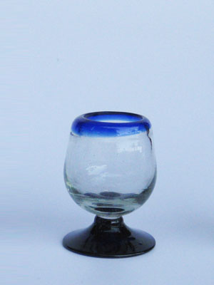 COLORED RIM GLASSWARE / 'Cobalt Blue Rim' tequila sippers (set of 6)